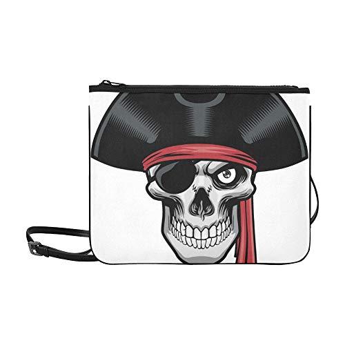 WYYWCY Heftiger Pirat und Hutmuster Benutzerdefinierte hochwertige Nylon Slim Clutch Crossbody Bag Umhängetasche (Benutzerdefinierte Damen Piraten Kostüm)