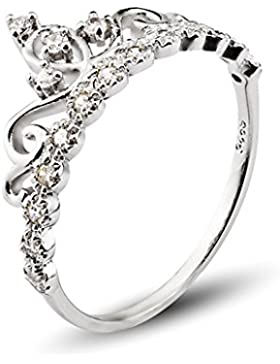 925 Sterling Silber Zirkonia krone Damen-Ring Verlobungsring schmuck