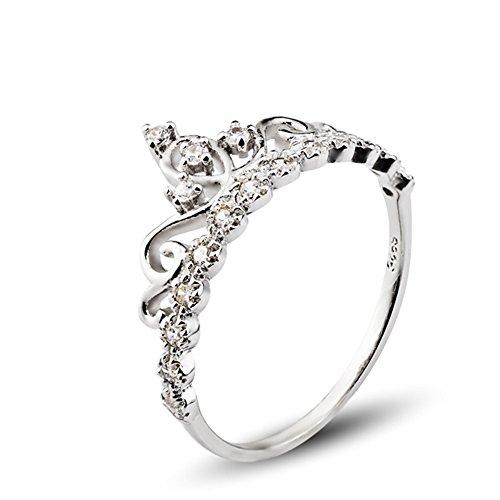 925 Sterling Silber Zirkonia krone Damen-Ring Verlobungsring schmuck größe 53 (16.9) (Ring Mit Krone)