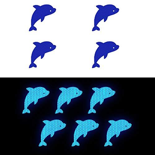 Cobear 10x Hoch Intensives Reflektoren Aufkleber Selbstklebend für LKW Auto Motorrad Boot Fahrrad Anhänger Helm Taschen Delfinform D-17 Blau