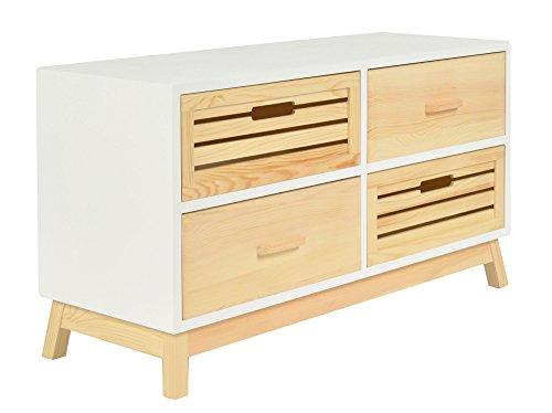 """ts-ideen cómoda estilo """"casa de campo"""" pasillo baño sala de estar WC en madera de pino y fibra de madera blanco y natural"""