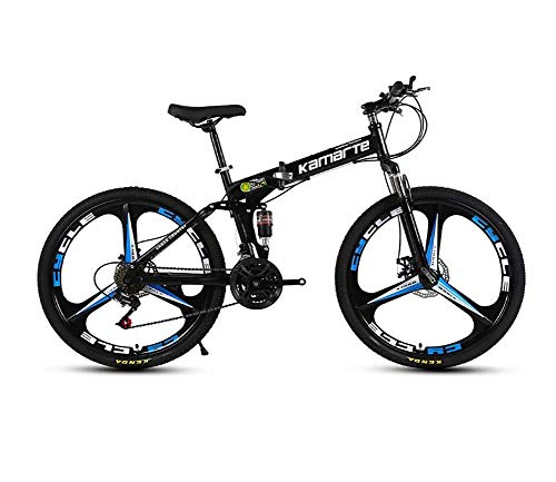 QWE Mountain Bike 26 Pollici Mountain Bike Ruota Totale 27 velocità Cambio Mountain Bike Bici Pieghevole Bici Nera