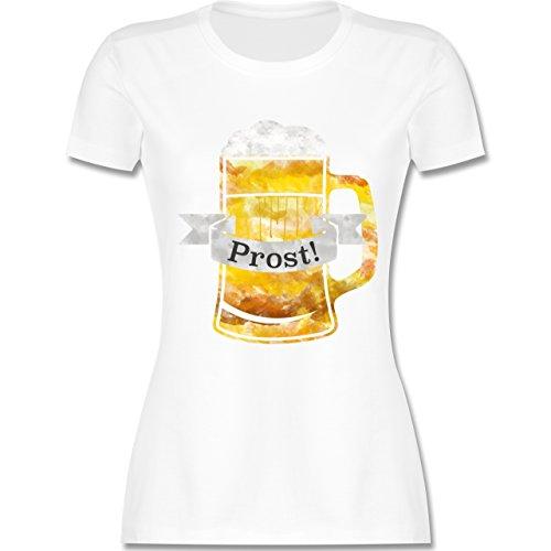 Oktoberfest Damen - Prost Bierkrug Wasserfarben - tailliertes Premium T-Shirt mit Rundhalsausschnitt für Damen Weiß