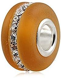 Kera Armband Zitrin mattiertes Muranoglas mit klaren Swarovski Kristalle Geburtsstein November Sterlingsilber 925 für Pandora Chamilia Biagi Troll Armbänder