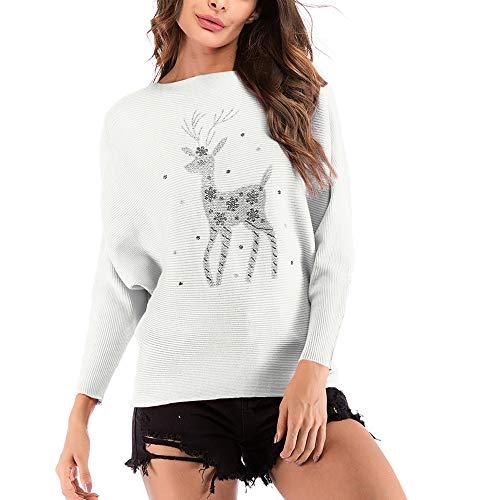 TianWlio Damen Langarmshirt Bluse Sweatshirt Kapuzenpullover Frauen Weihnachten Rentier Muster Lässige T-Shirt Langarm Stricken Tops