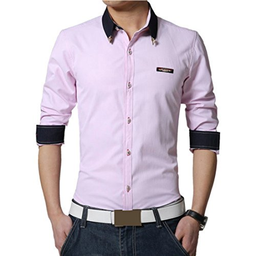 Men's High Quality Camisas Masculinas long Sleeveed Casual Shirts pink