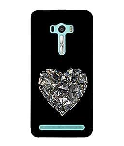 PrintVisa Designer Back Case Cover for Asus Zenfone 2 Laser ZE601KL (6 Inches) (Broken Heart Crystal Love Sign Emotional Romance)