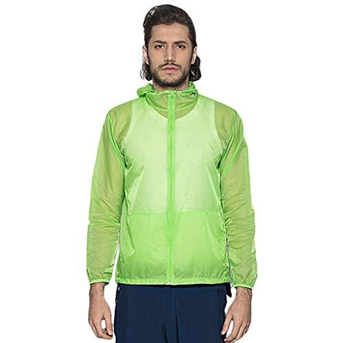 MRULIC Winddichte Herren Jacke mit Sonnenschutz Mantel für den Outdoor-Fahrradsport Leichtes trockenes Windbreaker Manteloberteil für die Wüstenreise(Grün,2XL)