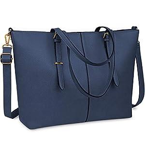 NUBILY Laptop Damen Handtasche 15,6 Zoll Shopper Handtasche Blau Elegant Leder Taschen Große Leichte Elegant Stilvolle…