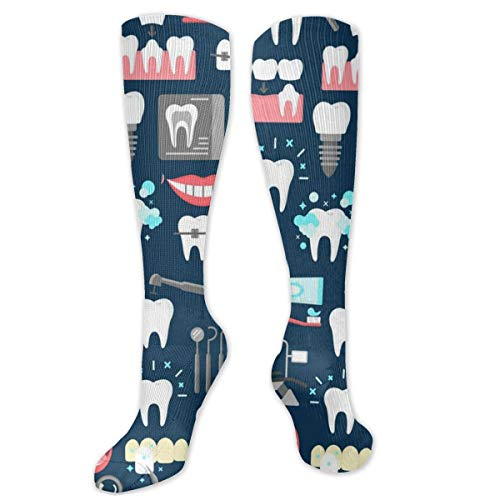 NiWCGP Dental nahtlose Muster Herren Lustige Bunte Socken,Herren witzige Strümpfe, Fun Gemusterte Muster Socken, Neuheit Sneaker Socken