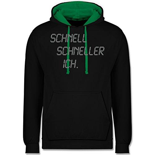 Laufsport - schnell - schneller - ich - Kontrast Hoodie Schwarz/Grün