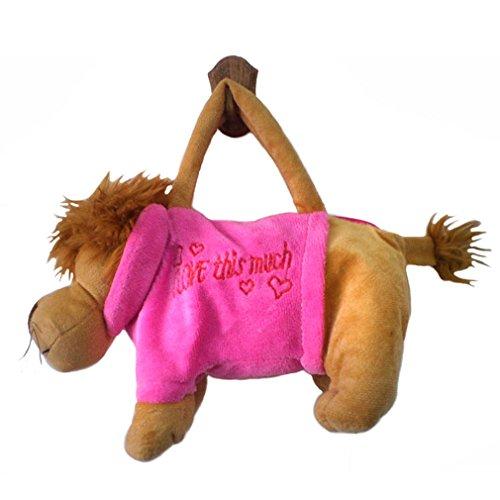 JTC Kinder Plüsch Handtasche Süße Tierstil Tasche Weiche Schultertasche Rosa Löwe