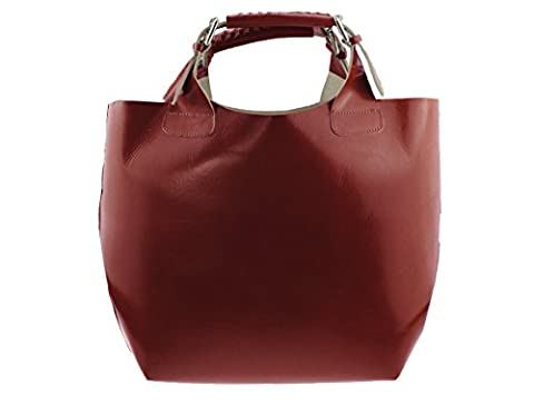 Bag2basics xXL bag shopper tote-rouge-made in italy sac à bandoulière 100 % cuir