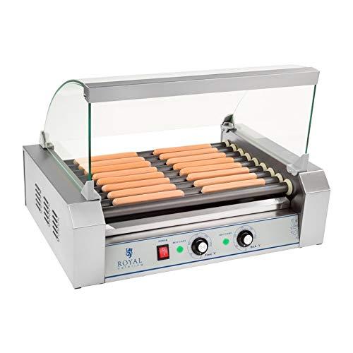 Royal Catering Hot Dog Grill Hot Dog Maschine Hot Dog Maker (9 Rollen, Platz für 16 Würstchen, teflonbeschichtet, 1.800 W, 2 Heizzonen, Edelstahl) silber