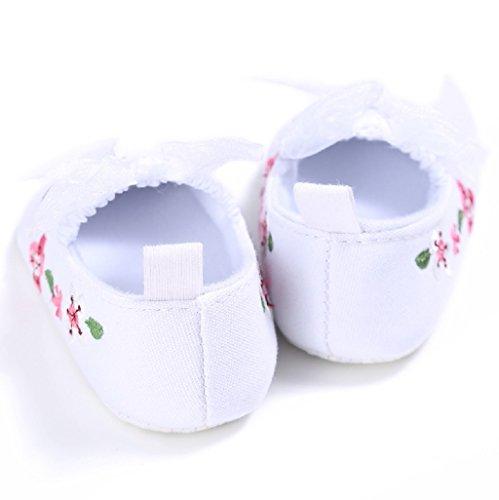 Baby Schuhe Auxma Baby-Mädchen-Segeltuch-Schuhe,Blumen-Schuhe Sneaker Anti-Rutsch-Soft Sole Kleinkind (12-18 M, Schwarz) Weiß