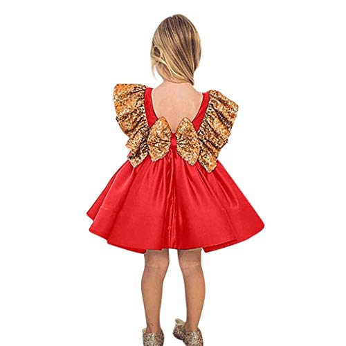 SOMESUN Baby Mädchen Prinzessin Kleid Butterfly Paillette Ärmellos Baumwolle Tanzen Rock Kinder Modisch Feierliche Anlässe Elegant Tanzrock Aschenputtel Party Formal Hochzeit Abendkleid