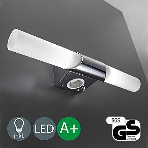LED Applique Murale et plafonnier pour salle de bain avec / 2lumières / Lampe miroir / Prise/blanc/ chromé