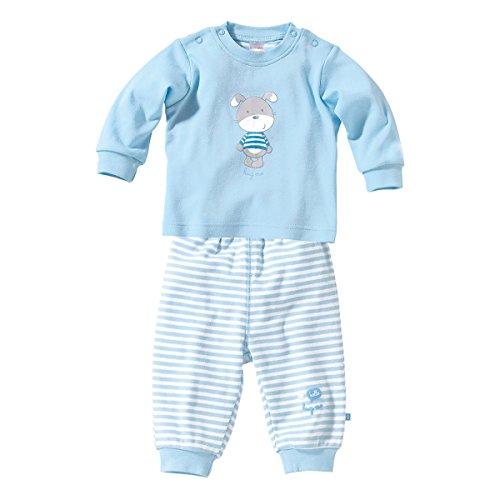 Bornino Schlafanzug lang - langärmeliger Baby-Pyjama - Oberteil mit Druckknöpfen & Hose mit elastischem Bund - aus Reiner Baumwolle - blau/weiß