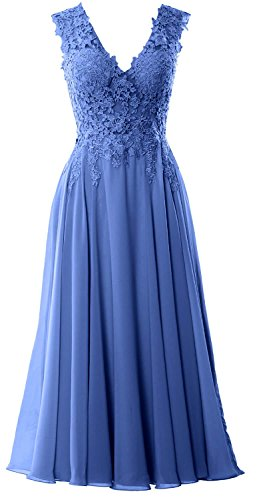 MACloth Gorgeous Tea Length Prom Homecoming Dress V Neck Formal Evening Gown Horizon