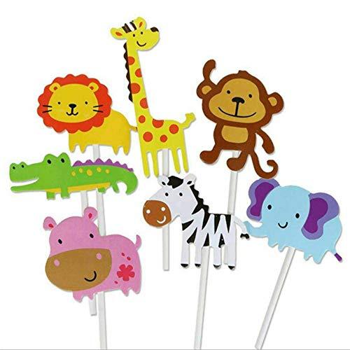 Ogquaton 7-Pack niedlichen Zoo Cupcake Picks, Dschungel Tiere Toppers für Kinder Baby Shower Birthday Party Kuchen Dekoration Lieferungen