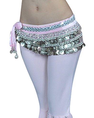 YuanDian Damen Münzen Bauchtanz Gürtel Berufs Bauchtanz Tanzkleidung Taillenkette Hüfttuch Gürtel Röcke Bauch Tanzen Schal Rosa+Silbermünzen (Bauch-tanzen-kleidung)