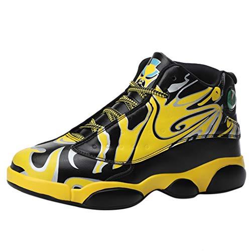 Basketballschuhe Damen Herren Outdoor Sportschuhe Paar Turnschuhe High-Top rutschfeste Turnschuhe Große Größen Basketball Schuhe, Gelb