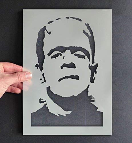 Frankenstein Schablone Halloween Stil Dekor & Basteln Schablone Malen & Gestalte Zeichen,Wände, Stoffe, Möbel wiederverwendbar ... - 11x17cm