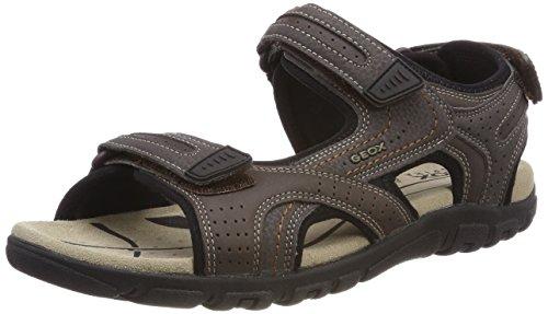 Geox strada d, sandali con cinturino alla caviglia uomo, marrone (dk coffee), 44 eu