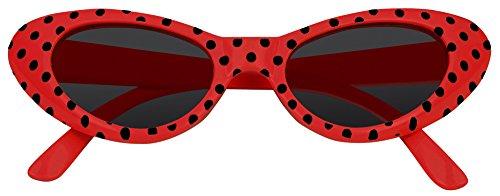 Cat Eye Brille Sandy mit Punkten - Rot -
