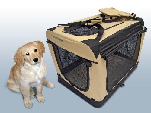 Faltbare Hunde Transportbox / Auto Transportbox XL Schwarz-Beige