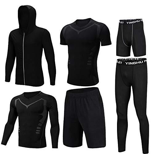 Gym Wear Fitness Bekleidung Set Herren-Sportkleidung-Sets 6-teilige Sets mit Outwear, langärmliges Kompressionshemd, eng anliegende Kompressionshose, kurzärmliges Kompressionshemd, lose Shorts, eng an - 6 Teiliges Bekleidungs-set