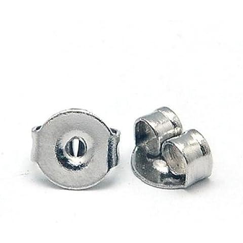 Pandahall,100 Cantidad Tapones tuerca de acero inoxidable color original para pendientes, 5x4x2.5 mm, agujero: 1