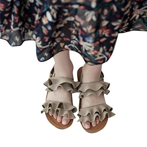 (Dorical Sommer Kleinkind Baby Mädchen Süß Wave Sandalen Princess Strandsandalen Casual Wildleder Schuhe 21-30 EU(Beige,24 EU))