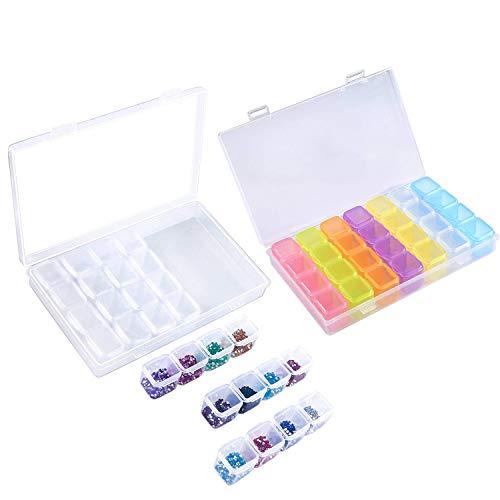 2 paquete 28 rejilla caja de bordado de diamantes, caja de almacenamiento 5D accesorios de pintura diamante, caja de almacenamiento de cuentas de diamantes, transparente y organizador de caja de color