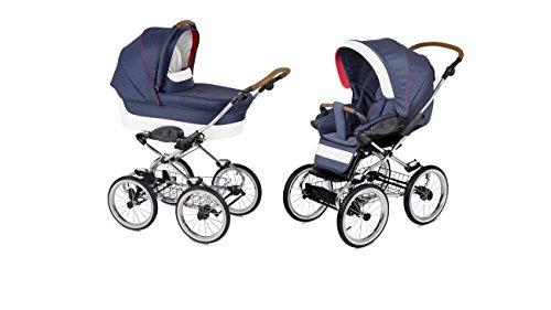 Caravel Luxus retro Kombi Kinderwagen klassisch 2in1 Baby Wanne und Sportwagen Stoff