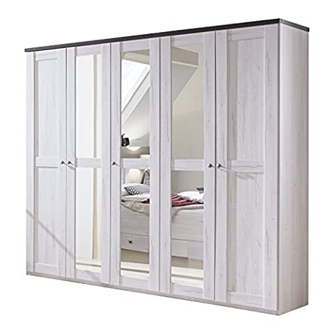 German Chateau Driftwood White Oak 5 Door 3 Mirror 225cm