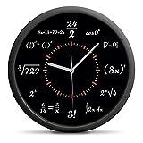 Außergewöhnliche Wanduhr Mathematik in Schwarz-Weiß - Einzigartiges Zifferblatt - Zeigt die Uhrzeit in einer mathematischen Formel Sweep-Mechanismus (kein nerviges Ticken)