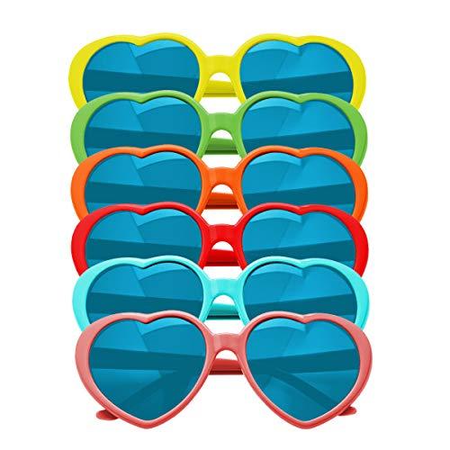 Paare Kostüm Dschungel Für - KiraKira Party Sonnenbrillen Set herzförmige Sonnenbrille lustige Brille Sonnenbrille Partyzubehör Geburtstagsfoto Requisiten Kostümzubehör 6 Paare
