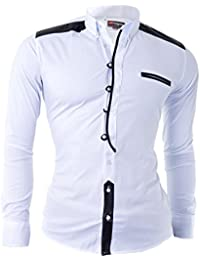 D&R Fashion Shirt with Faux Leather Finishigs and Grandad Casual Slim Fit White