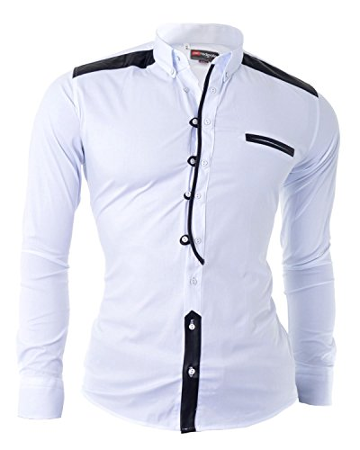 dr-fashion-shirt-with-faux-leather-finishigs-and-grandad-casual-slim-fit-white