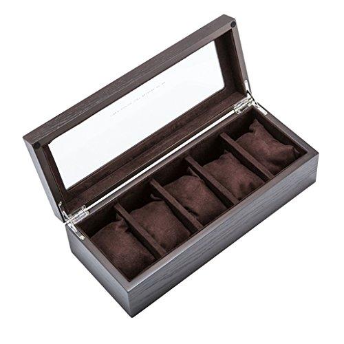 BZEI-Uhren Zubehör Holz Uhrenbox Glas Schiebedach Uhren Display Aufbewahrungskoffer Mechanische Uhr Display Boxen für Schmuck Armband Sammlungen 5 Gürtel Braun (Farbe : Braun) (Beendet Glas-rand)