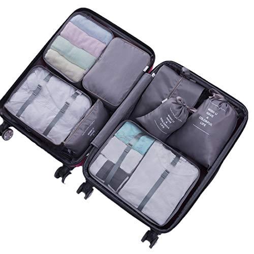 Organizer Reise Kleidertaschen, ACITMEX 8 Stück kleidertaschen für Kleidung Kosmetik Schuhbeutel Kabel Aufbewahrungstasche, Reisen Organizer Tasche, Kleidung Schuhe Unterwäsche Kosmetik-Grau