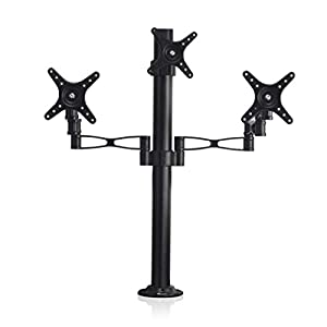 Vemount Support mural 3 x Moniteur LCD LED TV Ecran plat plasma 10 - 27 pouces (25 - 68 cm), VESA max 100×100, Charge max 30kg, Pivotant ±45°Inclinaison ±180°