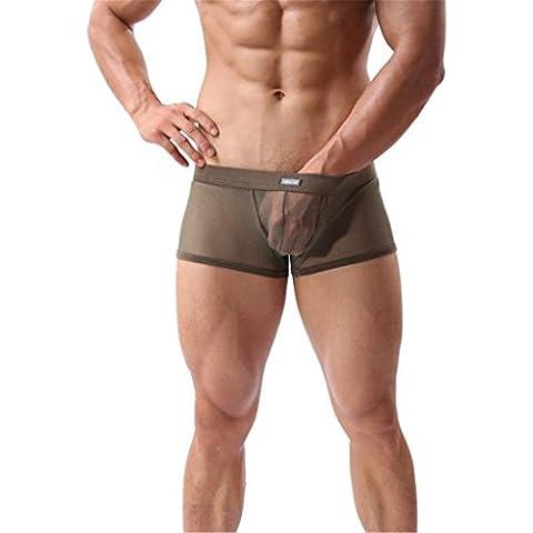 Susenstone Moda de hombres a través de malla boxeadores pantalones cortos escritos ropa interior Transparente delgado Transpirable Boxeadores Ropa Interior (M, Verde del