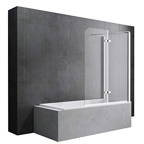 Badewannenfaltwand Cortona113, Wandanschlag rechts, in Klarglas 6mm ESG-Glas Nano-Versiegelung, BTH: 70x120x140cm
