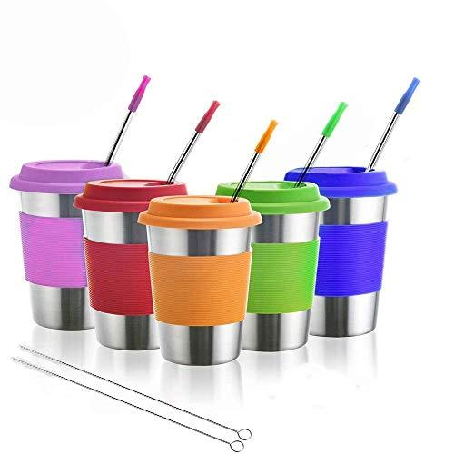 Dorey-Hom Edelstahlbecher für Kinder, Trinkgläser aus Metall mit Silikondeckel, Trinkhalme, ideal für Aktivitäten im Innen- und Außenbereich von Kindern und Erwachsenen (5er-Pack 12 oz)