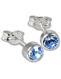 SilberDream Damen-Ohrstecker Silber mit hellblauem Zirkonia 925 Sterling Silber SDO503H