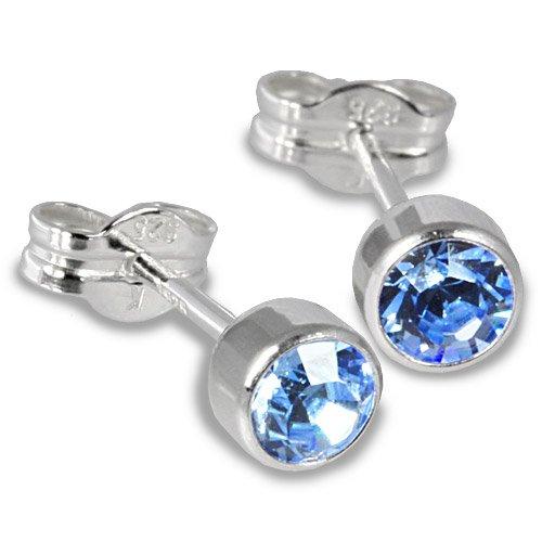 SilberDream Damen-Ohrstecker Silber mit hellblauem Zirkonia 925 Sterling Silber SDO503H -
