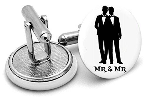 Rushjets Mr & Mr Gay Hochzeit Manschettenknöpfe-Gay Hochzeit Geschenk-Civil Partnerschaft Geschenk-Groomsmen Geschenk