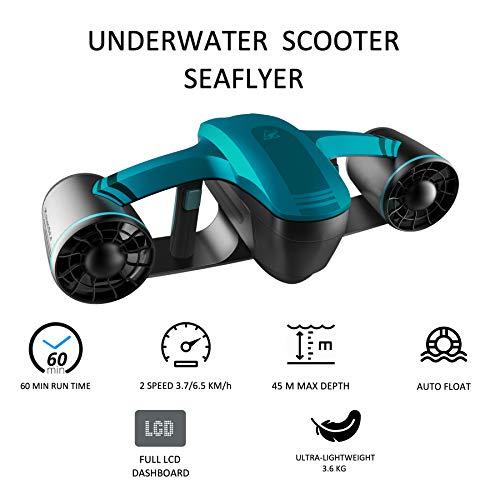 RoboSea Scooter Elettrico subacqueo Seaflyer 1.0 Blu 45 Metri profondità 2 velocità 60 min Funzionamento 64116121